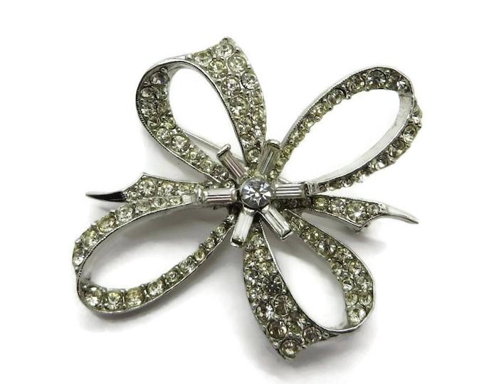 Rhinestone Bow Brooch - Vintage Estate Silver Tone Costume Jewelry Gift Brooch