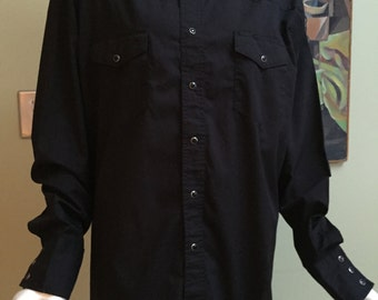 Vintage Wrangler Black Rockabilly Shirt