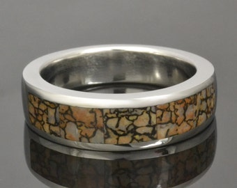 Tan Dinosaur Bone Ring in Cobalt Chrome by Hileman Silver Jewelry