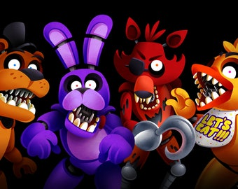Five Nights PRINT Welcome to Freddy's // FNAF Five Night's at Freddy's // Horror Games // Poster // Gifts for Kids