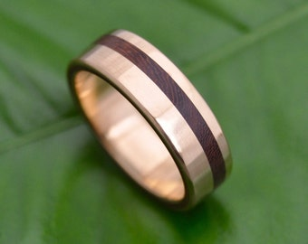 Equinox Nacascolo 14k Yellow Gold Wood Ring - ecofriendly wood wedding band, 14k yellow gold wood wedding ring