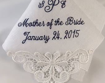 Wedding Handkerchief for MOB | Mother of the Bride Gift | Handkerchief for Mom from Bride Personalized for a Keepsake Gift