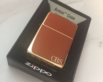 Personalized Zippo Lighter, High Polish Armor Brass Zippo Lighter, Groomsmen Gift, Father's day Gift, Birthday Gift, Anniversary Gift - Z169