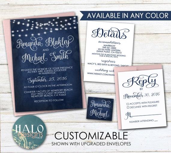 Dark Blue Wedding Invitations: Navy Wedding Invitations Invitation Kit Navy Dark Blue