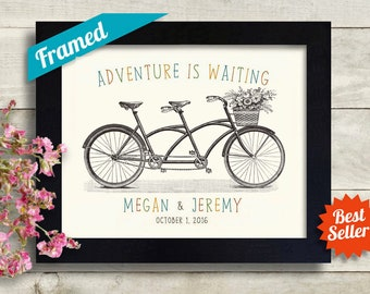 Personalized Wedding Gift Idea Bride and Groom Newlywed Couple Unique Engagement Gift Tandem Bicycle for Two Framed Artwork Print