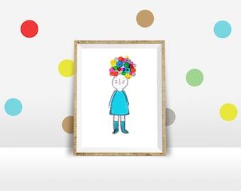 Fabulous Print Cute Little Girl Nursery Print Children decor room
