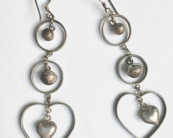 fabulously long hoop and heart dangles, sterling