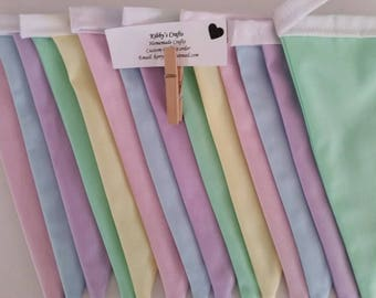 Fabric bunting flags pastel plain #1