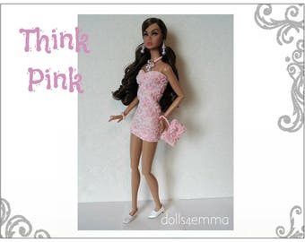 Poppy Parker Doll Clothes -THINK PINK Sexy Dress, hand-beaded Purse and Jewelry Set - Custom Fashion - by dolls4emma