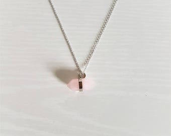 Delicate Healing Quartz Crystal Necklace in 16k Silver/Rose Quartz