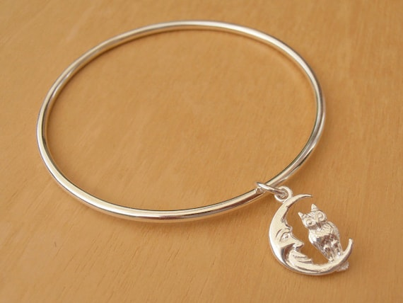 Sterling Silver Childrens Bracelet With Moon & Owl - Christening Or Baptism Gift