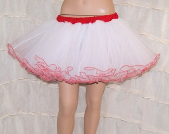 Bright White and Red Piped Costume TuTu Crinoline Skirt MTCoffinz --- Adult All Sizes
