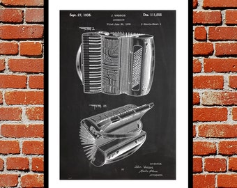 Accordion Patent, Accordion Poster, Accordion Print, Accordion Art, Accordion Decor, Accordion Blueprint, Accordion Musical Instrument