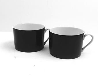 Vintage Fitz and Floyd  Dark Brown Coffee Mugs