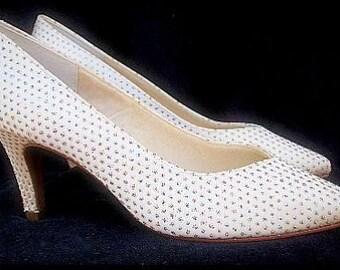 Vintage 1960s Shoes By Night Life Heels Glitter  Pumps Stilluetos Pinup Bombshell Dress Garden Party Rockabilly Mad Men Wedding