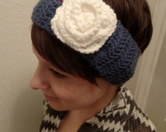 Blue headband with white flower