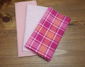Pink Flannel Quarter Package - 3 Pack PreCut Fat Quarters