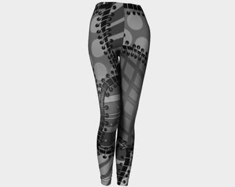 Black and gray faux stitched leggings, faux patchwork yoga leggings, unique grayscale yoga pants, printed leggings by Felicianation Ink