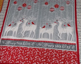 Christmas Deer and Ornament handmade lap quilt 75 x 58