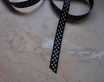 Black 10mm white polka dot grosgrain