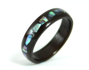 Wooden Engagement Ring Ebony Wood With Mother Of Pearl Inlay