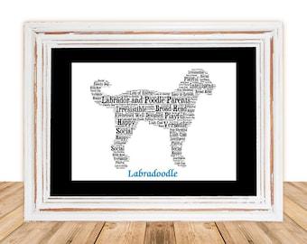 Labradoodle, Labradoodle art, Labradoodle Gift, Personalize, Custom, Personalize, Pet Gift, Gifts Under 25, Dog Art, Pet Art, Pet Memorial