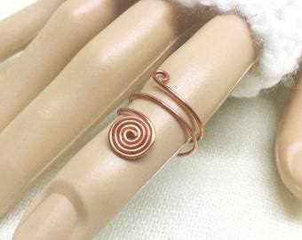 Copper ring, size 4, spiral with wraps
