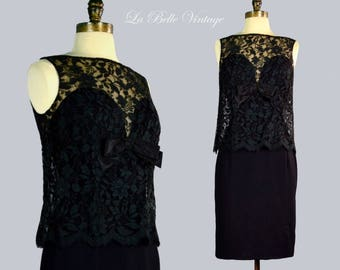 Black Lace Hourglass Dress S Vintage 60s Cocktail Party Frock