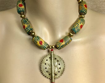 African Trade Bead Necklace, extra large powder glass Ghana Krobo beads, Ethiopian brass beads, FREE SHIPPING in the US!