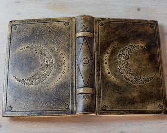 Moon Hardcover Journal, Leather Diary, Personal Journal, A5 Hardback Notebook, Leather Bound Journal, Embossed Journal, Gift for Her