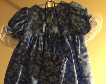 """Snow dress with purse for 15-18"""" dolls"""