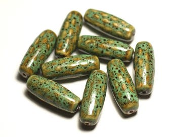 2PC - porcelain olive rice bobbin 31mm turquoise green ochre mottled ceramic beads - 8741140017504