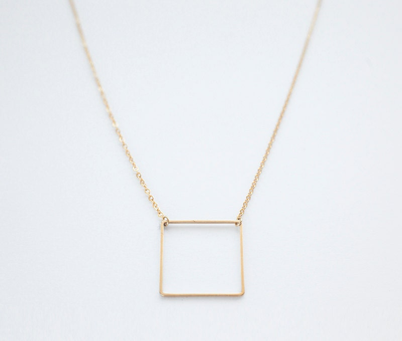 gold jewelry square necklace az pendant bling plated pfs silver geometric
