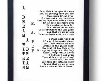 A Dream Within A Dream Edgar Allan Poe Poem Print
