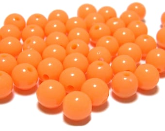 BULK QUANITITES 8mm Smooth Round Acrylic Beads in Light Tangerine 200 beads