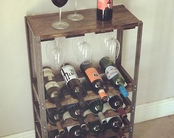 Industrial Wine Rack - Rustic - standing