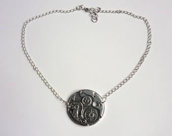 Steampunk - mechanism and gears - silver Choker necklace