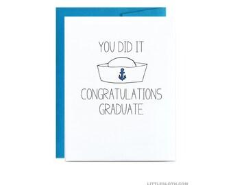 Navy graduation card - you did it congratulations graduation basic training grad sailor card