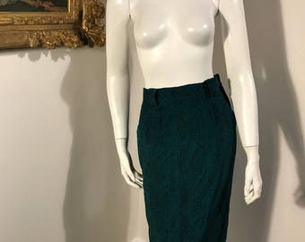 Patrick Mulqueen 100% Silk Green Black Pocketed Kneelength Skirt Size 8