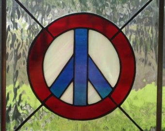 Red White and Blue Peace Sign Stained Glass Window