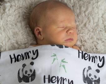 Personalized Swaddle Blanket - Cozy Panda – Personalized Swaddle Blanket / Baby Name Blanket