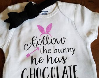 Follow the bunny he has chocolate- easter bunny- easter shirt- pink glitter