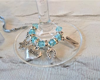 Something Blue Bride Single Wine Glass Charm-Personalised Bride Wine Charm-Wedding Top Table-Hen Party-Bride To Be Keepsake Gift