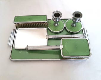 Complete Art Deco Vanity Set made with Enamel and Chrome