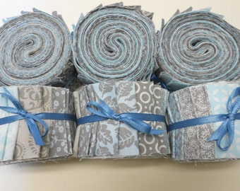 Aqua and Gray Quilt Fabric Jelly Roll Strips - SEW FUN QUILTS Time Saver Quilt Kit