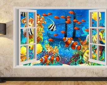 Tropical Fishes 3D Window Effect Kids Wall Sticker Art Mural Decal 322a