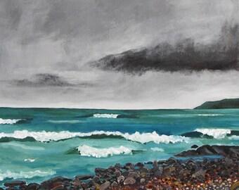 Stormy Seascape Aqua Surf PRINT Shelagh Duffett Nova Scotia
