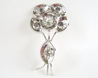 Vintage Silver & Rhinestone Flower Brooch Large Floral Statement Pin