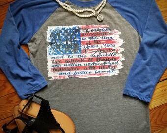 pledge of allegiance. patriot tee