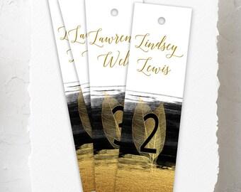Hanging Bookmarks, Wedding Reception Seating Cards, Semi Custom - Glamorous Evening (Style 13782)